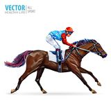 Jockey on horse. Champion. Horse racing. Hippodrome. Racetrack. Jump racetrack. Horse riding. Vector illustration Royalty Free Stock Photo