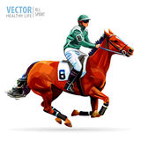 Jockey on horse. Champion. Horse racing. Hippodrome. Racetrack. Jump racetrack. Horse riding. Racing horse coming first Stock Image