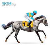 Jockey on horse. Champion. Horse racing. Hippodrome. Racetrack. Jump racetrack. Horse riding. Racing horse coming first. To finish line. Vector. Illustration stock illustration