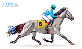 Jockey on horse. Champion. Horse racing. Hippodrome. Racetrack. Jump racetrack. Horse riding. Racing horse coming first Royalty Free Stock Image