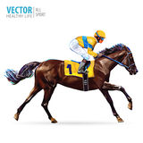 Jockey on horse. Champion. Horse racing. Hippodrome. Racetrack. Jump racetrack. Horse riding. Racing horse coming first Stock Photos