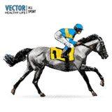 Jockey on horse. Champion. Horse racing. Hippodrome. Racetrack. Jump racetrack. Racing horse. Sport. Pop art style. Vector illustration. Comic book style royalty free illustration