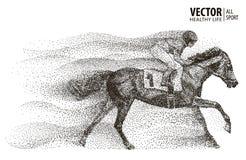 Jockey on horse. Champion. Horse racing. Hippodrome. Racetrack. Jump racetrack. Sport. Particle. Isolated on a white. Jockey on horse. Champion. Horse racing Royalty Free Stock Photography