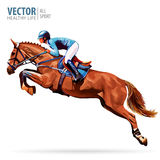 Jockey on horse. Champion. Horse riding. Equestrian sport. Jockey riding jumping horse. Poster. Sport background Stock Photo