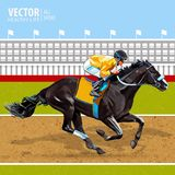 Jockey on horse. Champion. Horse racing. Hippodrome. Racetrack. Jump racetrack. Horse riding. Racing horse. Vector. Jockey on horse. Champion. Horse racing Royalty Free Stock Image