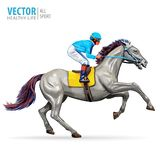 Jockey on horse. Champion. Horse racing. Hippodrome. Racetrack. Jump racetrack. Horse riding. Racing horse coming first Stock Photos