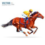 Jockey on horse. Champion. Horse racing. Hippodrome. Racetrack. Jump racetrack. Horse riding. Racing horse coming first. To finish line. Isolated on white vector illustration