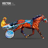 Jockey and horse. Champion. Racing. Hippodrome. Racing steed coming first to finish line. Chariot with horse and rider. Stallion race track. Harness racing at stock illustration
