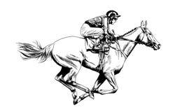 Jockey on a horse drawn Stock Photo