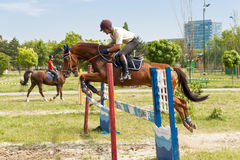 Jockey and horse jumping Stock Photos