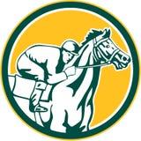 Jockey Horse Racing Circle rétro Image libre de droits