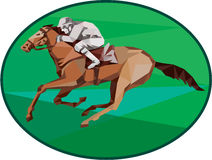 Jockey Horse Racing Oval Low Polygon Stock Photography