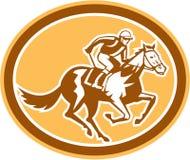 Jockey Horse Racing Oval rétro Photo stock