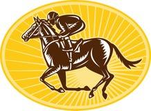 Jockey And Horse Racing Retro Style Royalty Free Stock Photography