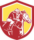 Jockey Horse Racing Shield Retro- Stockbild