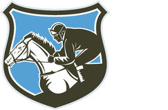 Jockey Horse Racing Side Shield Retro. Illustration of horse and jockey racing viewed from side set inside shield crest on isolated background done in retro Stock Images