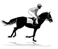 Jockey on horse. Jockey riding a horse. Horse races. Competition Stock Photos