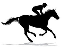 Jockey on a horse. Jockey riding a horse. Horse races. Competition. Silhouettes on a white background Royalty Free Stock Photo