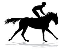 Jockey on a horse. Jockey riding a horse. Horse races. Competition. Silhouettes on a white background Stock Image