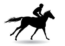 Jockey on a horse. Jockey riding a horse. Horse races. Competition. Silhouettes on a white background Royalty Free Stock Images