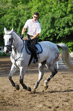 Jockey i exponeringsglas som rider hästen Arkivbild