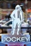 Jockey Ice Sculpture arkivfoton