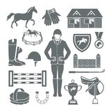 Jockey Icons Black. Set with horseshoe saddle medal barrier isolated vector illustration Stock Images