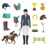 Jockey Icons Flat Images stock