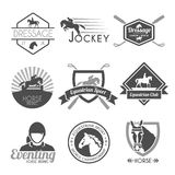 Jockey Label Set. Jockey label dressage sport club emblems black set isolated vector illustration Stock Photos