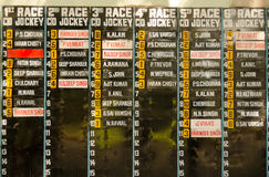 Jockey List, Hyderabad Race Club Stock Image