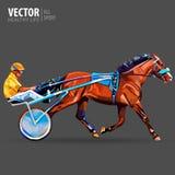 Jockey och häst mästare tävlings- hippodrome Tävlings- springare som först kommer till mållinjen Triumfvagn med hästen och ryttar Arkivfoto