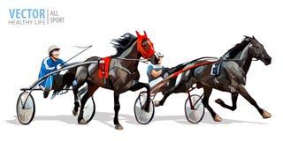 Jockey och häst Två tävlings- hästar som konkurrerar med de Lopp i sele med en sulky eller en tävlings- cykel vektor royaltyfri illustrationer