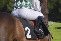 Jockey op een bruin paard van erachter bij een galopras op een gras Royalty-vrije Stock Foto's