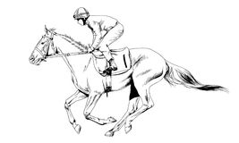 Jockey op een galopperend die paard met inkt met de hand wordt geschilderd Stock Afbeelding