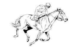 Jockey op een galopperend die paard met inkt met de hand wordt geschilderd Stock Afbeeldingen