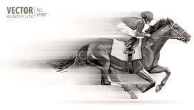 Jockey op het rennen paard kampioen hippodrome racetrack Ruiter op een paard Vector illustratie derby snelheid vaag stock illustratie