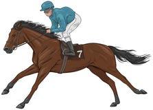 Jockey på en brun kapplöpningshäst Arkivbilder