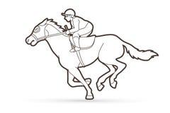 Jockey på hästen, hästkapplöpningtecknad filmdiagram royaltyfri illustrationer
