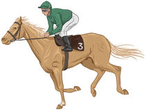 Jockey on a palomino racehorse. Illustration of a jockey on a palomino racehorse Stock Image