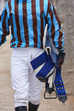 Jockey after the race. Hippodrome background. Racehorse. Competition Royalty Free Stock Photography