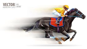 Jockey on racing horse. Champion. Hippodrome. Racetrack. Horse riding. Vector illustration. Derby. Speed. Blurred. Movement Isolated on white background vector illustration