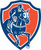 Jockey Retro Horse Racing Shield Royaltyfri Bild