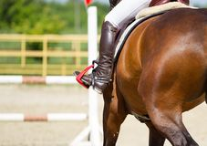 Jockey riding boot and horse Royalty Free Stock Photography