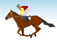 Jockey riding race horse. Illustration Stock Photos