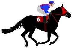 Jockey riding race horse illustration 6 Stock Photography
