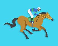Jockey riding race horse number 9, Vector illustration Royalty Free Stock Photos