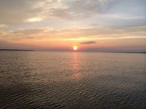 Albermarle Sound. Sunset on Albermarle Sound in North Carolina Stock Photos