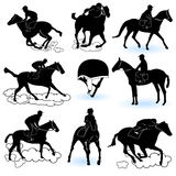 Jockey silhouettes. Illustration of 8 different jockey silhouettes, and a jockey cap Stock Photography