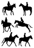 Jockey silhouettes Royalty Free Stock Photos