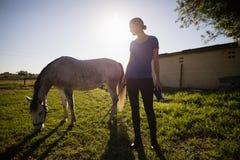 Jockey som ser hästen, medan stå på fält royaltyfri fotografi